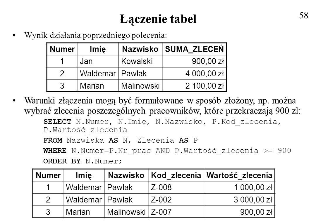Łączenie więcej niż dwóch tabel Przykładem jest zapytanie o dane pracownika, wysokość pensji oraz premii oraz sumę zleceń i sumę do wypłaty Dane te zawarte są w trzech tabelach NAZWISKA, NOWA i ZLECENIA Postać zapytania: SELECT N.Numer, N.Imię, N.Nazwisko, N.Pensja, R.Premia, SUM(P.Wartość_zlecenia) AS SUMA_ZLECEŃ, Suma_zleceń+N.Pensja+R.Premia AS WYPŁATA FROM Nazwiska AS N, Zlecenia AS P, Nowa AS R WHERE N.Numer = P.Nr_prac AND N.Numer = Nr_ident GROUP BY N.Numer, N.Imię, N.Nazwisko, N.Pensja, R.Premia ORDER BY N.Nazwisko; Wynik zapytania: 59 NumerImięNazwiskoPensjaPremiaSUMA_ZLECEŃWYPŁATA 1JanKowalski900,00 zł600,00 zł900,00 zł2 400,00 zł 3MarianMalinowski1 100,00 zł1 200,00 zł2 100,00 zł4 400,00 zł 4AdamNowak2 000,00 zł900,00 zł300,00 zł3 200,00 zł 2WaldemarPawlak3 000,00 zł200,00 zł4 000,00 zł7 200,00 zł