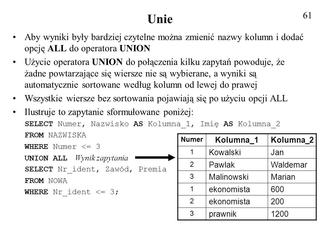 Podzapytania W niektórych przypadkach najprostszą metodą osiągnięcia jakiegoś celu w języku SQL jest wykorzystanie wyniku jednego zapytania w drugim Zagnieżdżone zapytania nazywane również podzapytaniami, mogą być używane w klauzuli WHERE do filtrowania danych Podzapytań używamy, gdy dane z pewnej tabeli są potrzebne w innym zapytaniu Podzapytanie to, najprościej mówiąc, instrukcja SELECT zagnieżdżona w innej instrukcji SQL, która dostarcza dla tej drugiej danych wejściowych Podzapytanie jest zapytaniem zagnieżdżonym Zapytanie otaczające też może być podzapytaniem, ponieważ SQL nie wprowadza ograniczeń w ilości zagnieżdżeń Jeśli zapytanie jest podzapytaniem, to kolejne zapytanie może pojawić się w jego klauzuli WHERE Zapytanie otaczające określa się czasem jako zapytanie zewnętrzne a zapytanie zagnieżdżone jako wewnętrzne 62