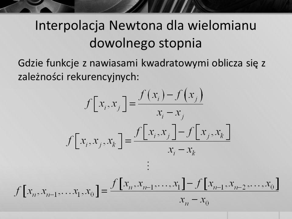 Gdzie funkcje z nawiasami kwadratowymi oblicza się z zależności rekurencyjnych: