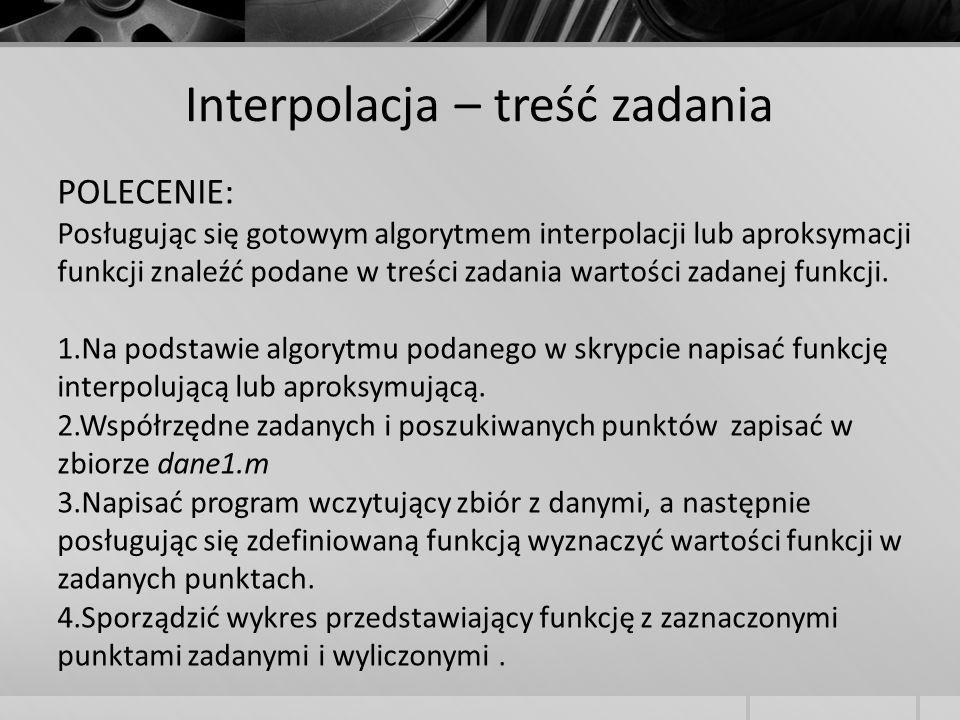 Interpolacja – treść zadania POLECENIE: Posługując się gotowym algorytmem interpolacji lub aproksymacji funkcji znaleźć podane w treści zadania wartoś