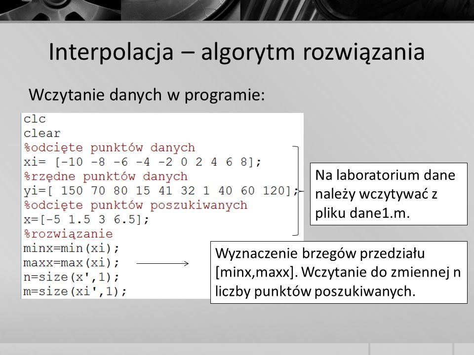 Interpolacja – algorytm rozwiązania Wczytanie danych w programie: Na laboratorium dane należy wczytywać z pliku dane1.m. Wyznaczenie brzegów przedział
