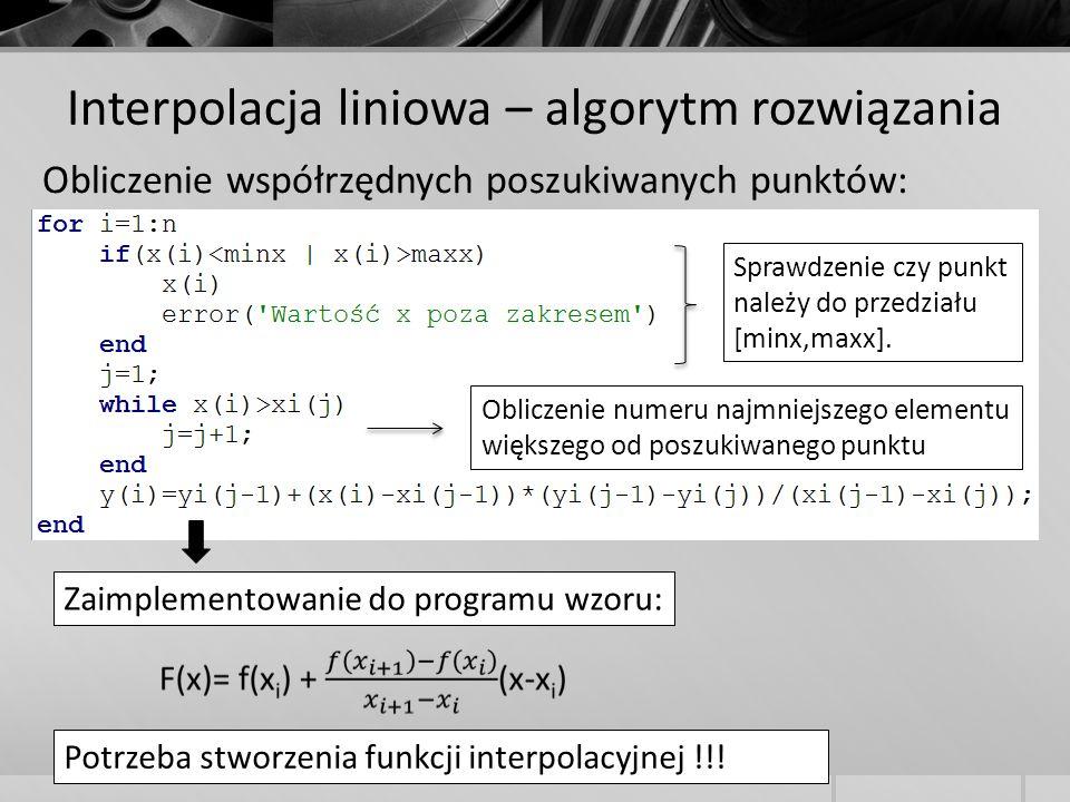 Interpolacja liniowa – algorytm rozwiązania Obliczenie współrzędnych poszukiwanych punktów: Zaimplementowanie do programu wzoru: Sprawdzenie czy punkt