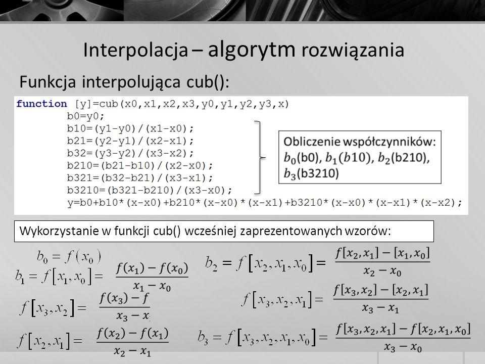 Interpolacja – algorytm rozwiązania Funkcja interpolująca cub(): Wykorzystanie w funkcji cub() wcześniej zaprezentowanych wzorów: