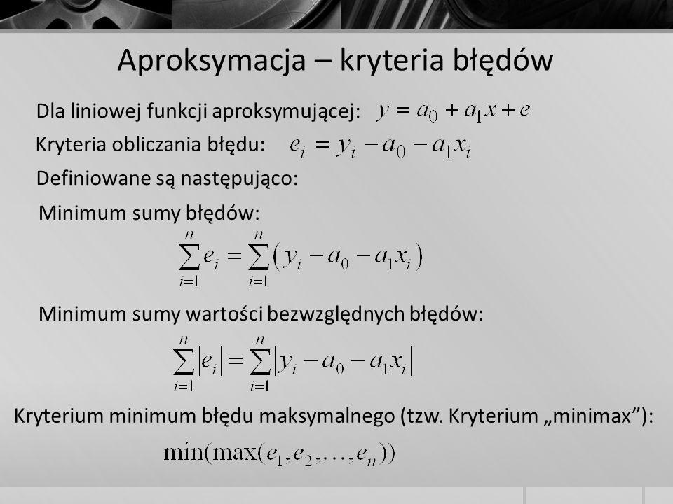 Aproksymacja – kryteria błędów Dla liniowej funkcji aproksymującej: Kryteria obliczania błędu: Definiowane są następująco: Minimum sumy błędów: Minimu