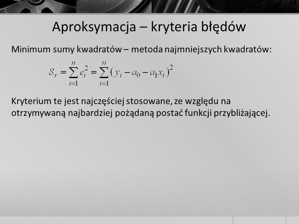 Aproksymacja – kryteria błędów Minimum sumy kwadratów – metoda najmniejszych kwadratów: Kryterium te jest najczęściej stosowane, ze względu na otrzymy