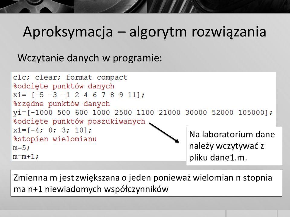 Aproksymacja – algorytm rozwiązania Wczytanie danych w programie: Na laboratorium dane należy wczytywać z pliku dane1.m. Zmienna m jest zwiększana o j