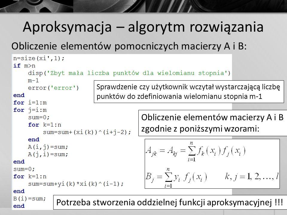 Aproksymacja – algorytm rozwiązania Obliczenie elementów pomocniczych macierzy A i B: Sprawdzenie czy użytkownik wczytał wystarczającą liczbę punktów