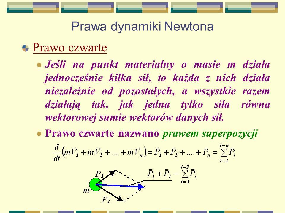 Prawa dynamiki Newtona Prawo czwarte Jeśli na punkt materialny o masie m działa jednocześnie kilka sił, to każda z nich działa niezależnie od pozostał