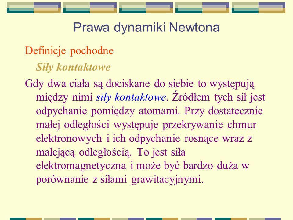 Prawa dynamiki Newtona Definicje pochodne Siły kontaktowe Gdy dwa ciała są dociskane do siebie to występują między nimi siły kontaktowe. Źródłem tych