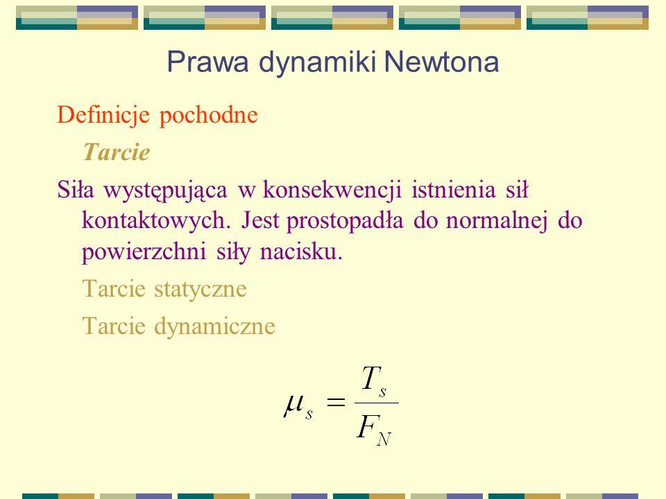 Prawa dynamiki Newtona Definicje pochodne Tarcie Siła występująca w konsekwencji istnienia sił kontaktowych. Jest prostopadła do normalnej do powierzc