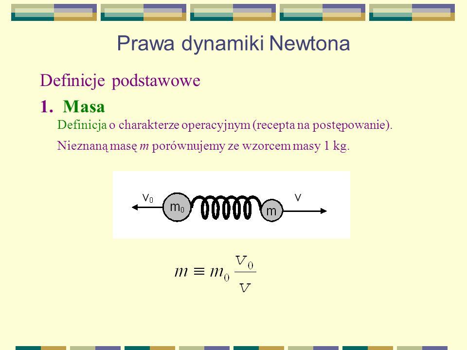 Prawa dynamiki Newtona Definicje podstawowe 1. Masa Definicja o charakterze operacyjnym (recepta na postępowanie). Nieznaną masę m porównujemy ze wzor