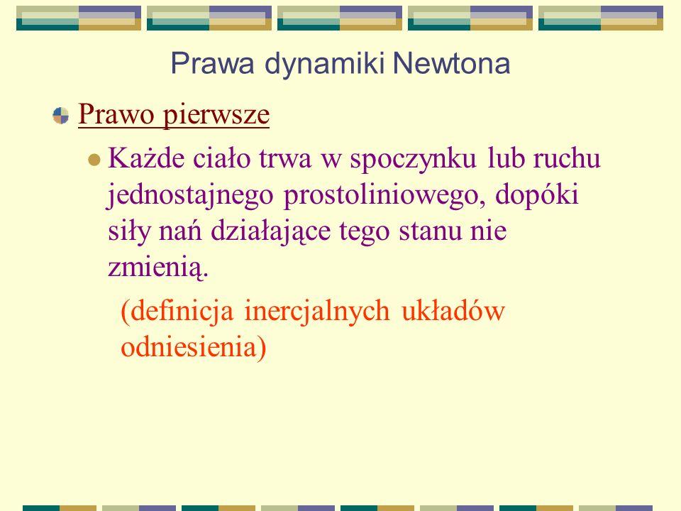 Prawa dynamiki Newtona Prawo pierwsze Każde ciało trwa w spoczynku lub ruchu jednostajnego prostoliniowego, dopóki siły nań działające tego stanu nie