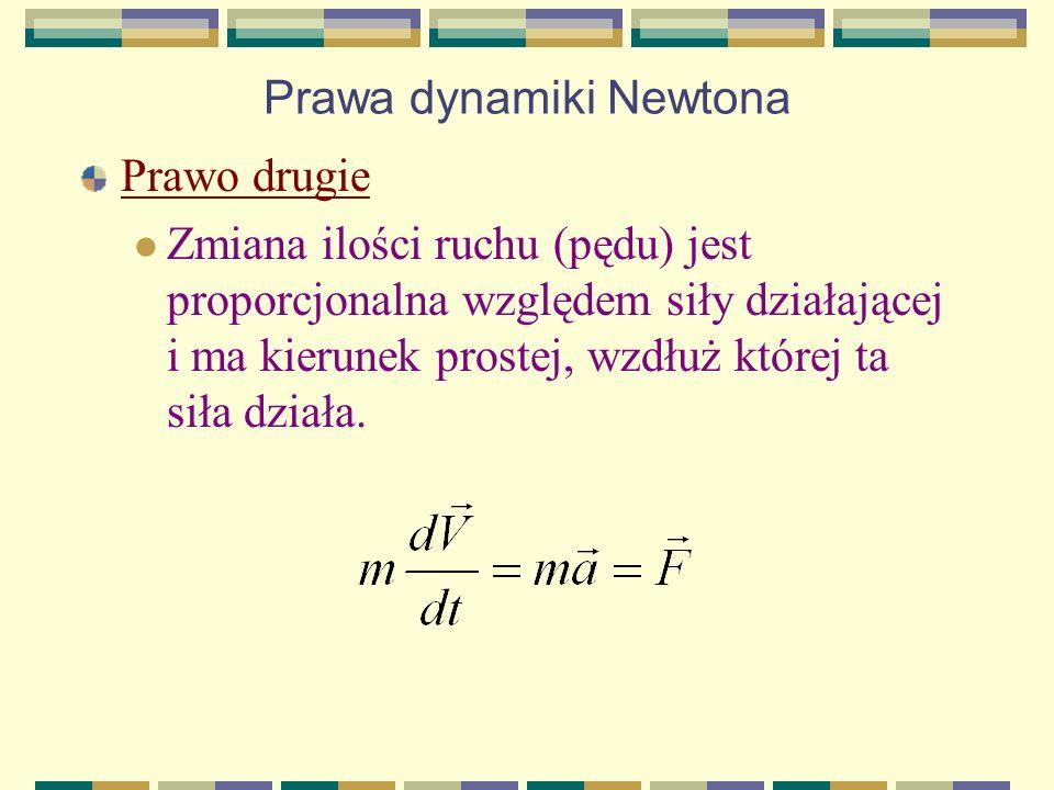 Prawa dynamiki Newtona Prawo drugie Zmiana ilości ruchu (pędu) jest proporcjonalna względem siły działającej i ma kierunek prostej, wzdłuż której ta s