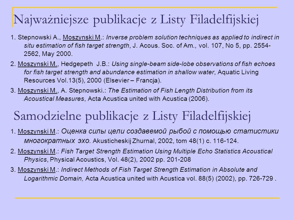 Najważniejsze publikacje z Listy Filadelfijskiej 1. Stepnowski A., Moszynski M.: Inverse problem solution techniques as applied to indirect in situ es