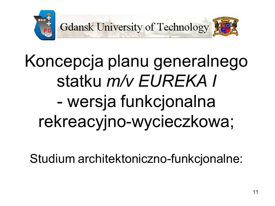 11 Koncepcja planu generalnego statku m/v EUREKA I - wersja funkcjonalna rekreacyjno-wycieczkowa; Studium architektoniczno-funkcjonalne: