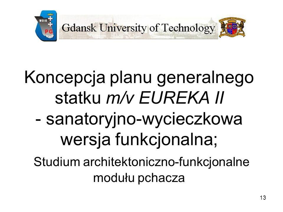 13 Koncepcja planu generalnego statku m/v EUREKA II - sanatoryjno-wycieczkowa wersja funkcjonalna; Studium architektoniczno-funkcjonalne modułu pchacz