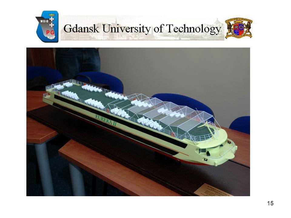 16 Koncepcja planu generalnego statku m/v EUREKA II - sanatoryjno-wycieczkowa wersja funkcjonalna; Studium architektoniczno-funkcjonalne modułu barki hotelowej: