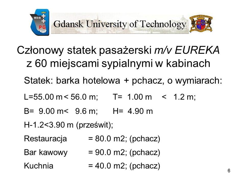 6 Członowy statek pasażerski m/v EUREKA z 60 miejscami sypialnymi w kabinach Statek: barka hotelowa + pchacz, o wymiarach: L=55.00 m< 56.0 m;T= 1.00 m