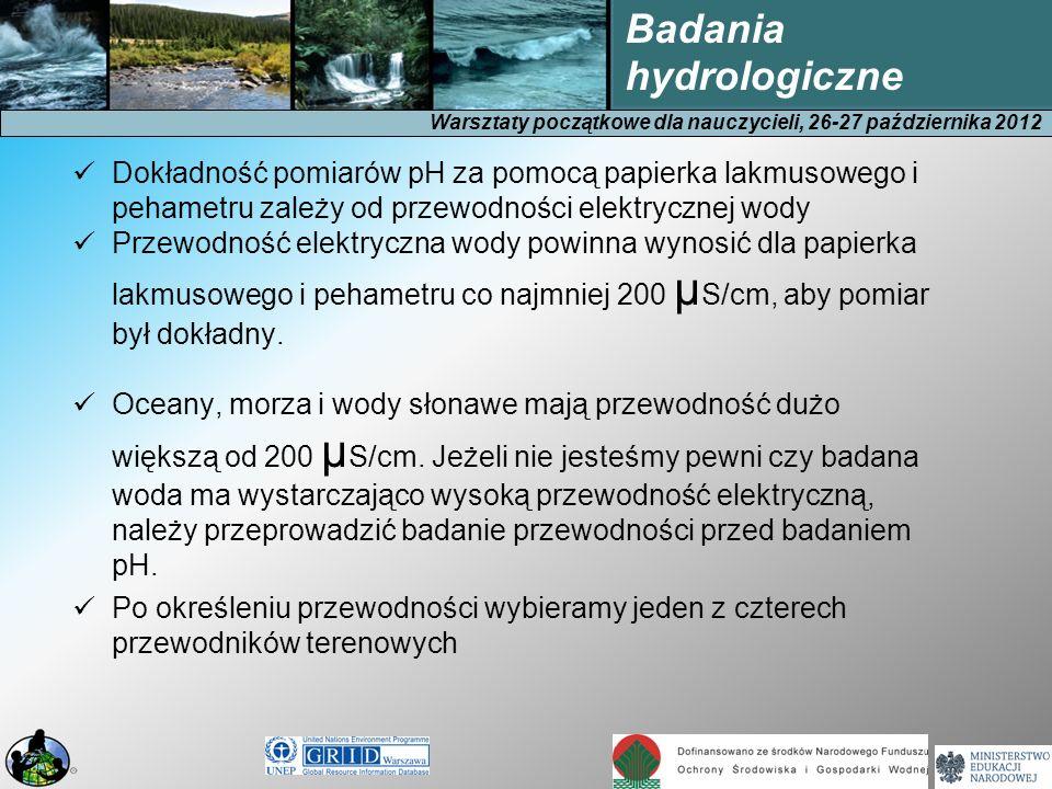 Warsztaty początkowe dla nauczycieli, 26-27 października 2012 Badania hydrologiczne 1.Wykorzystanie papierku lakmusowego dla wody o przewodności elektrycznej większej od 200 μS/cm.