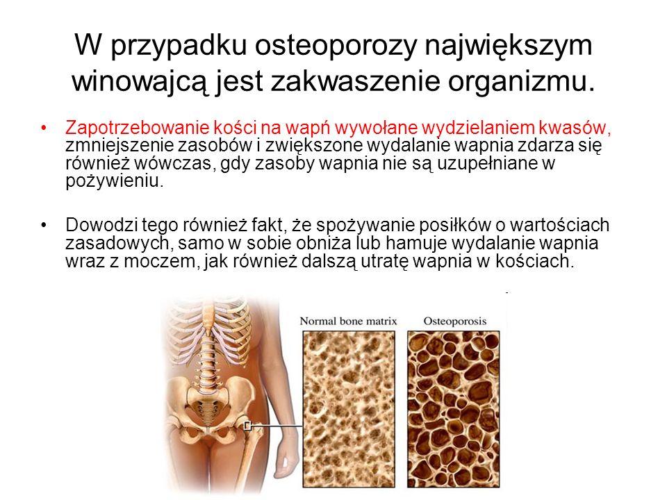 W przypadku osteoporozy największym winowajcą jest zakwaszenie organizmu. Zapotrzebowanie kości na wapń wywołane wydzielaniem kwasów, zmniejszenie zas
