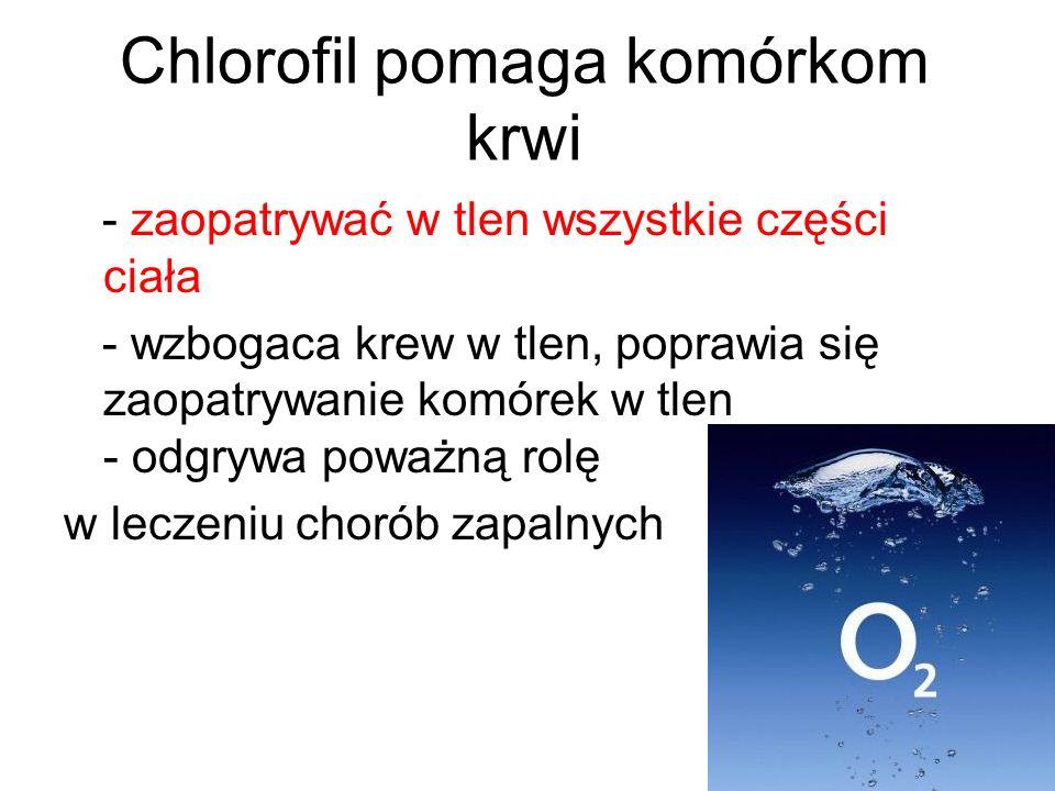 Chlorofil pomaga komórkom krwi - zaopatrywać w tlen wszystkie części ciała - wzbogaca krew w tlen, poprawia się zaopatrywanie komórek w tlen - odgrywa