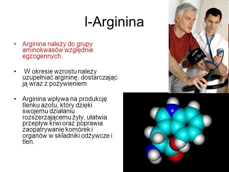 l-Arginina Arginina należy do grupy aminokwasów względnie egzogennych. W okresie wzrostu należy uzupełniać argininę, dostarczając ją wraz z pożywienie