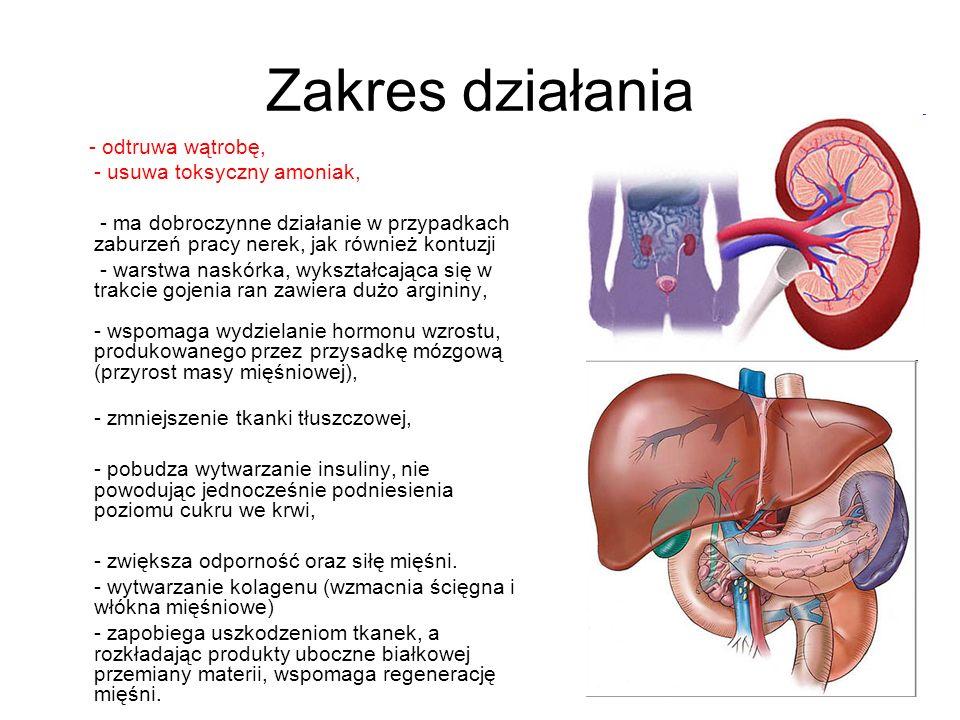 Zakres działania - odtruwa wątrobę, - usuwa toksyczny amoniak, - ma dobroczynne działanie w przypadkach zaburzeń pracy nerek, jak również kontuzji - w