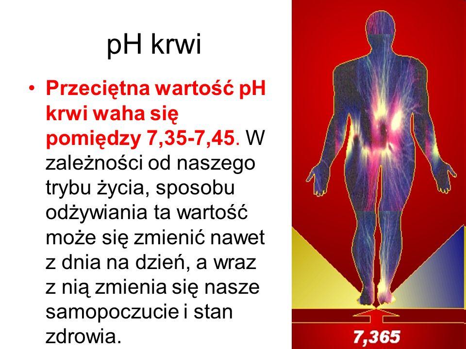 pH krwi Przeciętna wartość pH krwi waha się pomiędzy 7,35-7,45. W zależności od naszego trybu życia, sposobu odżywiania ta wartość może się zmienić na