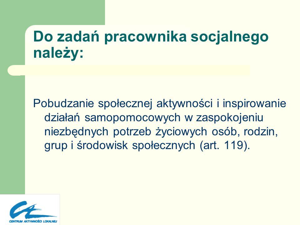 Zadania pomocy społecznej Zgodnie z art. 15 ustawy o pomocy społecznej pomoc społeczna polega miedzy innymi na: Rozwijaniu nowych form pomocy społeczn