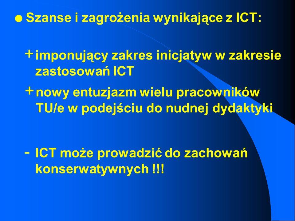 l Rozwój projektu ICT: spontaniczny rozwój eksperymentów dydaktycznych (np. symulacje zjawisk, wizualizacje prac, praca grupowa z wykorzystaniem group