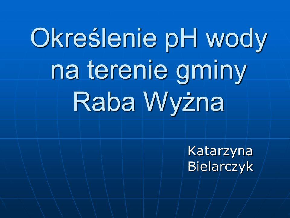 Określenie pH wody na terenie gminy Raba Wyżna Katarzyna Bielarczyk