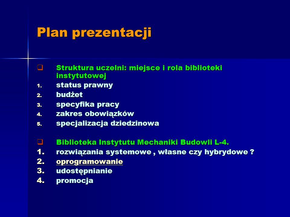 Biblioteka Instytutu Mechaniki Budowli Politechniki Krakowskiej Ograniczenia, wyzwania, rozwiązania, projekty Jadwiga Staromiejska Politechnika Krakow