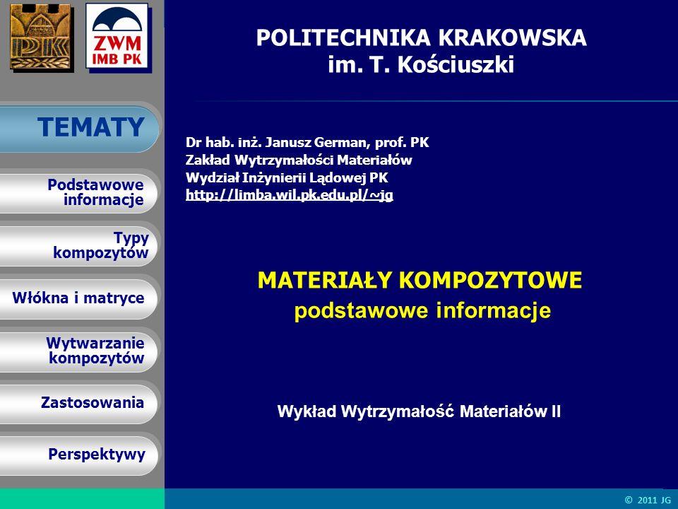 J. German MATERIAY KOMPOZYTOWE – podstawowe informacje Typy kompozytów Typy kompozytów Włókna i matryce Wytwarzanie kompozytów Wytwarzanie kompozytów