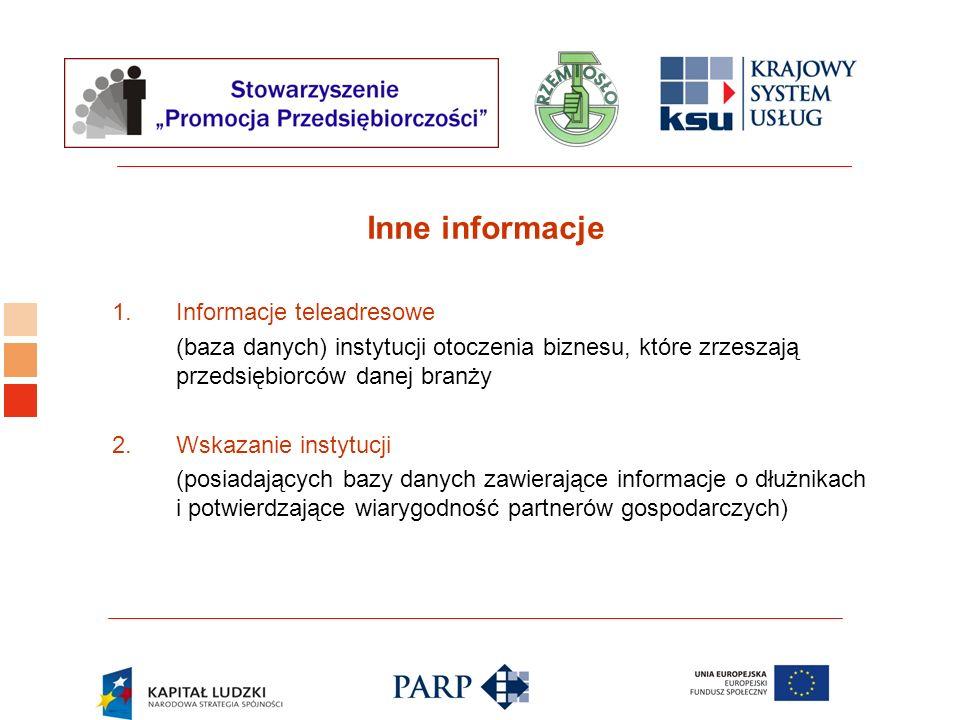 Logo ośrodka KSU Inne informacje 1.Informacje teleadresowe (baza danych) instytucji otoczenia biznesu, które zrzeszają przedsiębiorców danej branży 2.