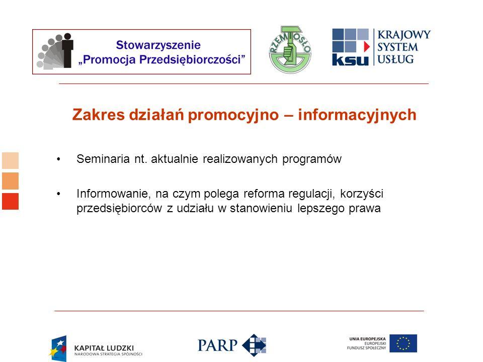 Logo ośrodka KSU Zakres działań promocyjno – informacyjnych Seminaria nt. aktualnie realizowanych programów Informowanie, na czym polega reforma regul