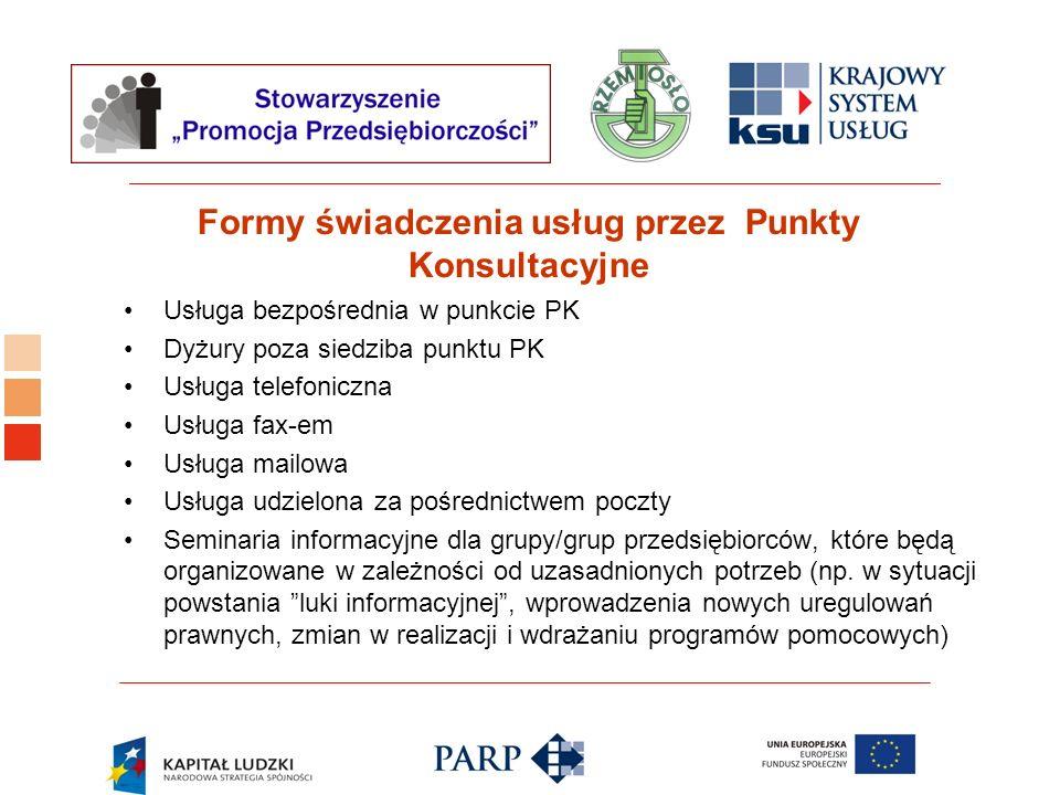 Logo ośrodka KSU Formy świadczenia usług przez Punkty Konsultacyjne Usługa bezpośrednia w punkcie PK Dyżury poza siedziba punktu PK Usługa telefoniczn