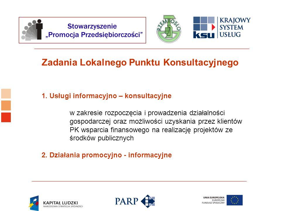 Logo ośrodka KSU 1. Usługi informacyjno – konsultacyjne w zakresie rozpoczęcia i prowadzenia działalności gospodarczej oraz możliwości uzyskania przez