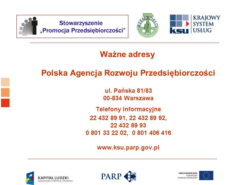 Logo ośrodka KSU Ważne adresy Polska Agencja Rozwoju Przedsiębiorczości ul. Pańska 81/83 00-834 Warszawa Telefony informacyjne 22 432 89 91, 22 432 89