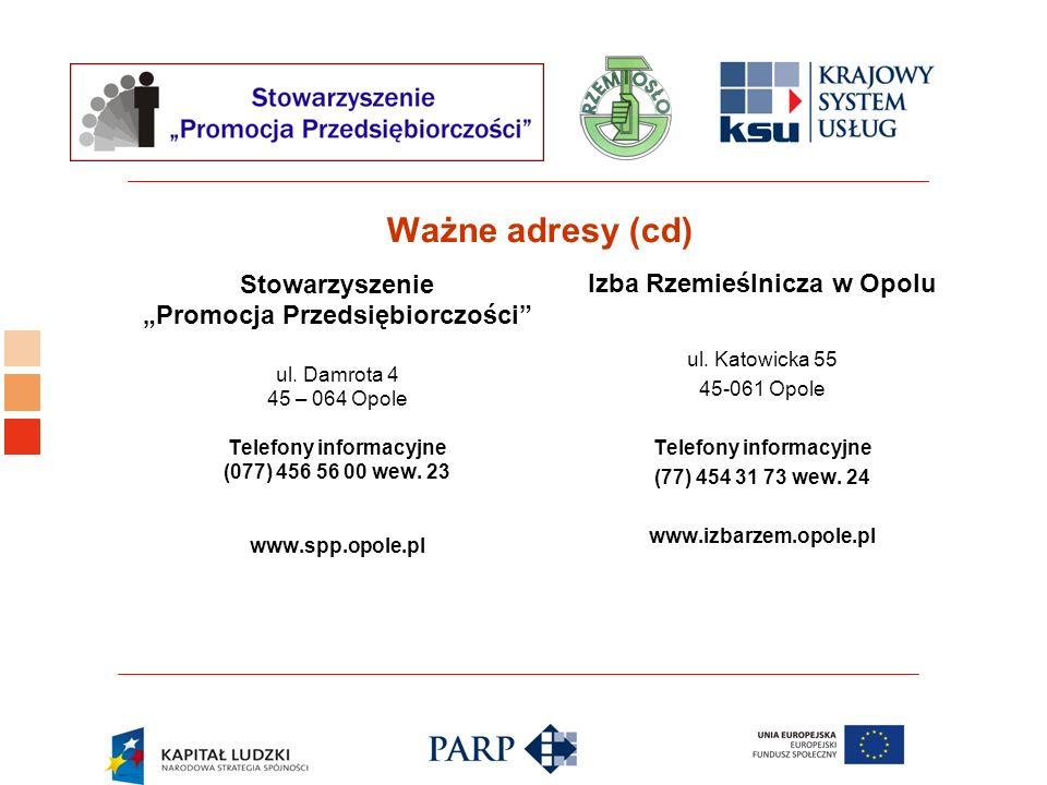 Logo ośrodka KSU Ważne adresy (cd) Stowarzyszenie Promocja Przedsiębiorczości ul. Damrota 4 45 – 064 Opole Telefony informacyjne (077) 456 56 00 wew.