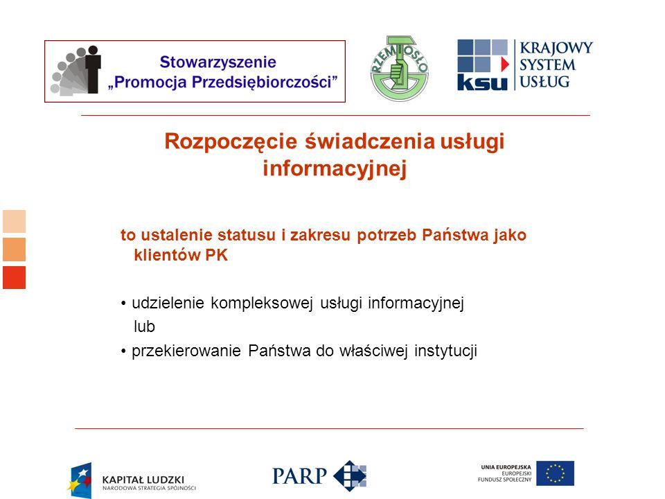 Logo ośrodka KSU Rozpoczęcie świadczenia usługi informacyjnej to ustalenie statusu i zakresu potrzeb Państwa jako klientów PK udzielenie kompleksowej