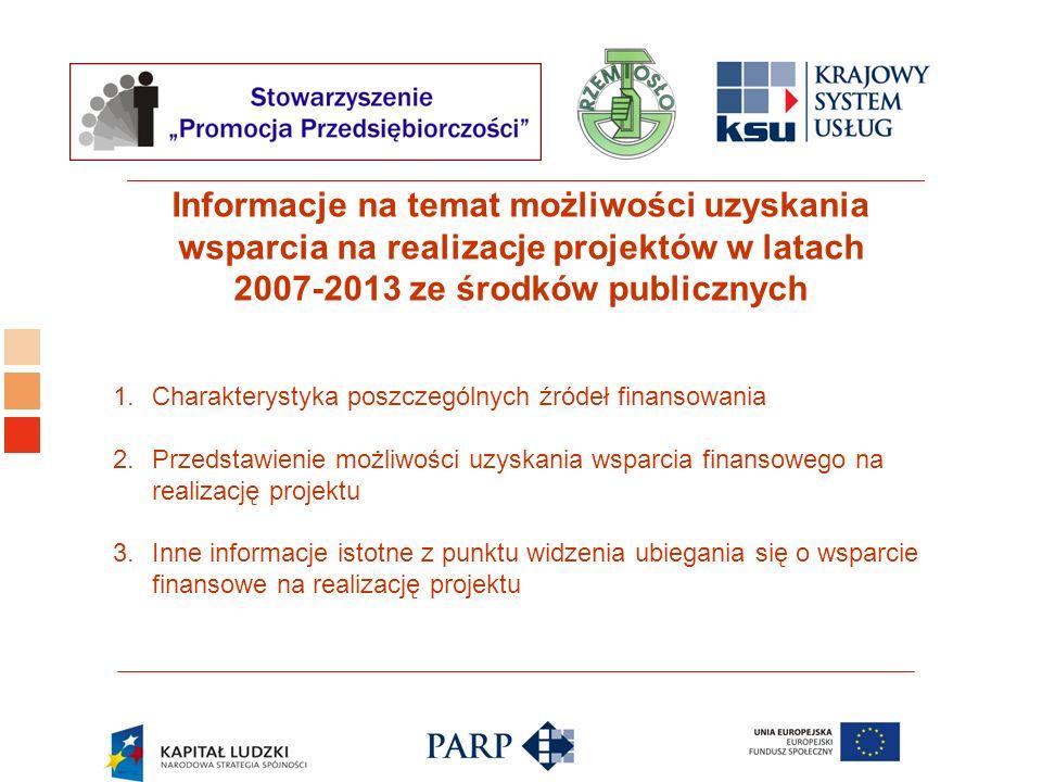 Logo ośrodka KSU Informacje na temat możliwości uzyskania wsparcia na realizacje projektów w latach 2007-2013 ze środków publicznych 1.Charakterystyka