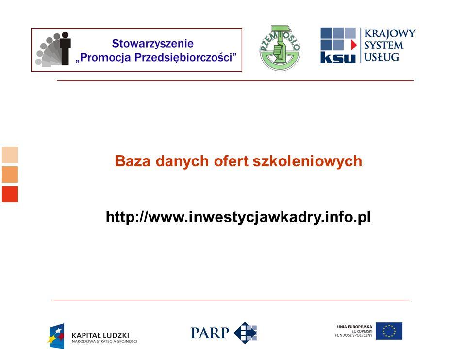 Logo ośrodka KSU Baza danych ofert szkoleniowych http://www.inwestycjawkadry.info.pl