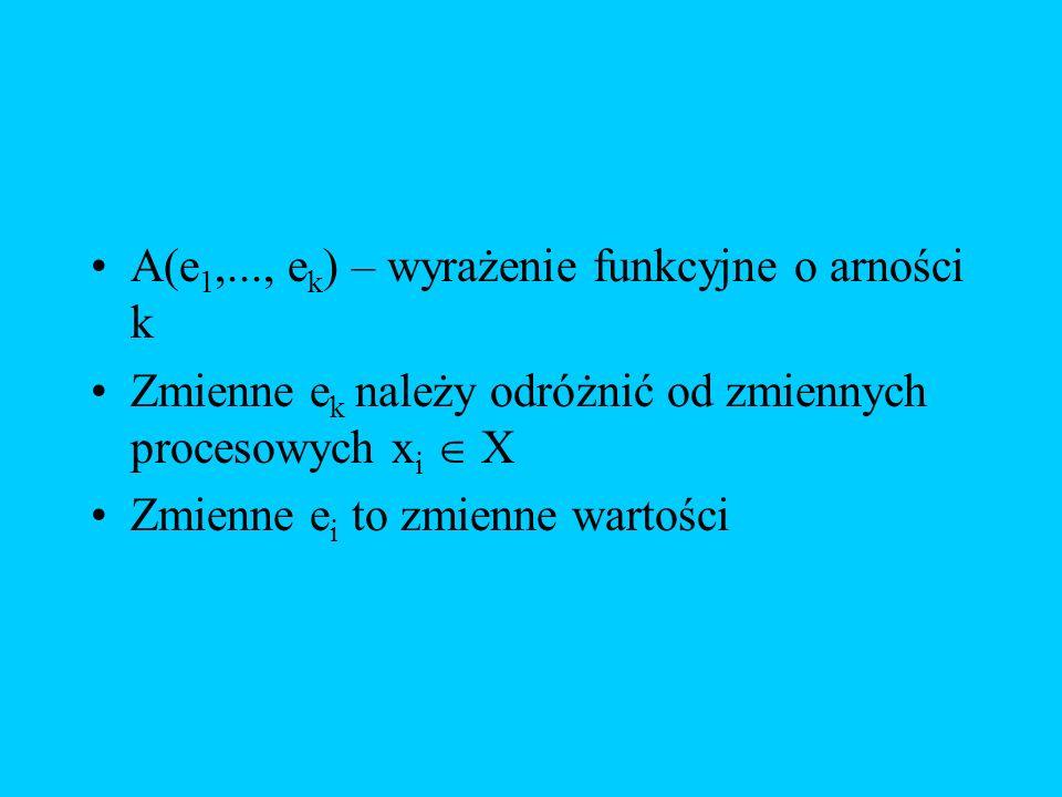 A(e 1,..., e k ) – wyrażenie funkcyjne o arności k Zmienne e k należy odróżnić od zmiennych procesowych x i X Zmienne e i to zmienne wartości