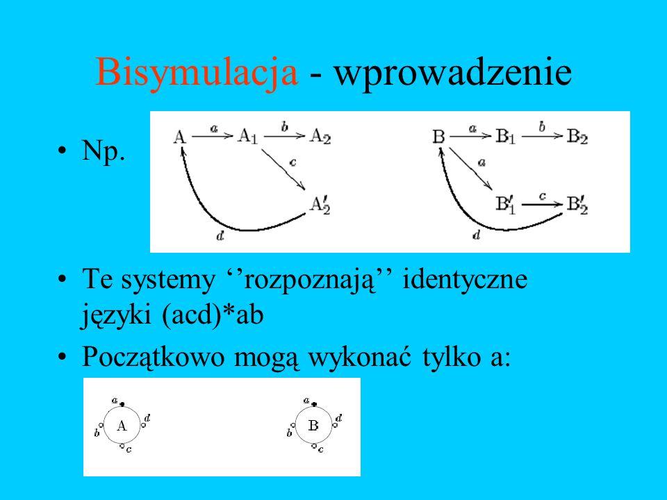 Bisymulacja - wprowadzenie Np. Te systemy rozpoznają identyczne języki (acd)*ab Początkowo mogą wykonać tylko a: