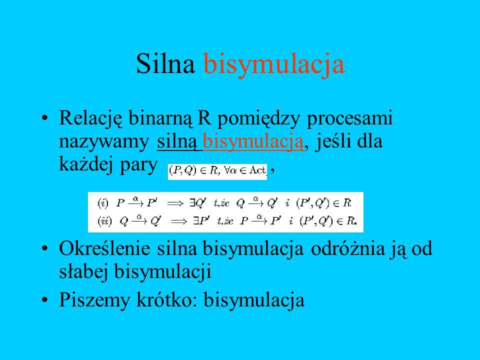 Silna bisymulacja Relację binarną R pomiędzy procesami nazywamy silną bisymulacją, jeśli dla każdej pary, Określenie silna bisymulacja odróżnia ją od