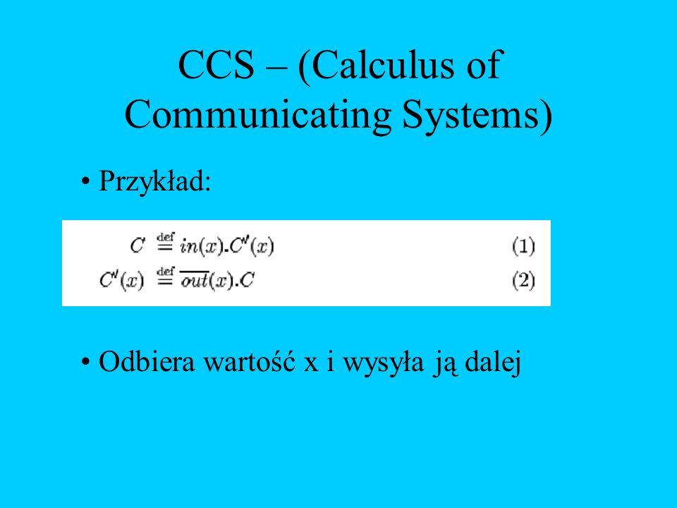 CCS – (Calculus of Communicating Systems) Przykład: Odbiera wartość x i wysyła ją dalej