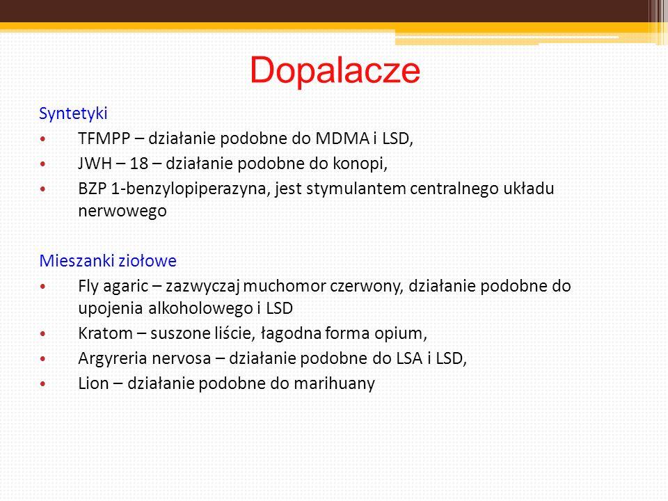 Dopalacze Syntetyki TFMPP – działanie podobne do MDMA i LSD, JWH – 18 – działanie podobne do konopi, BZP 1-benzylopiperazyna, jest stymulantem central