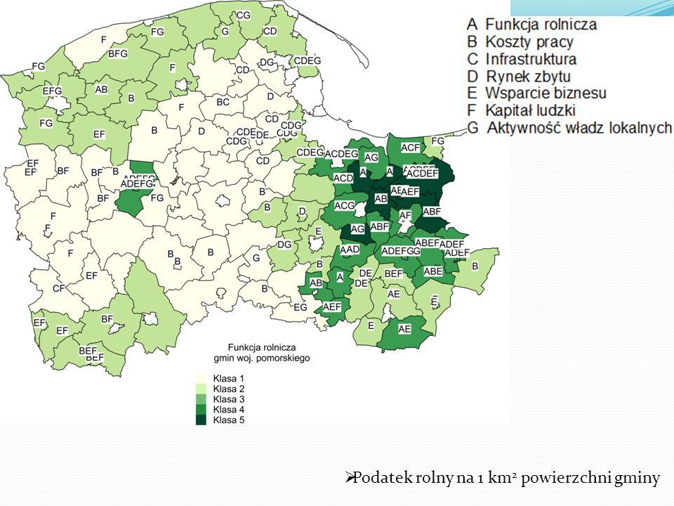 Podatek rolny na 1 km 2 powierzchni gminy