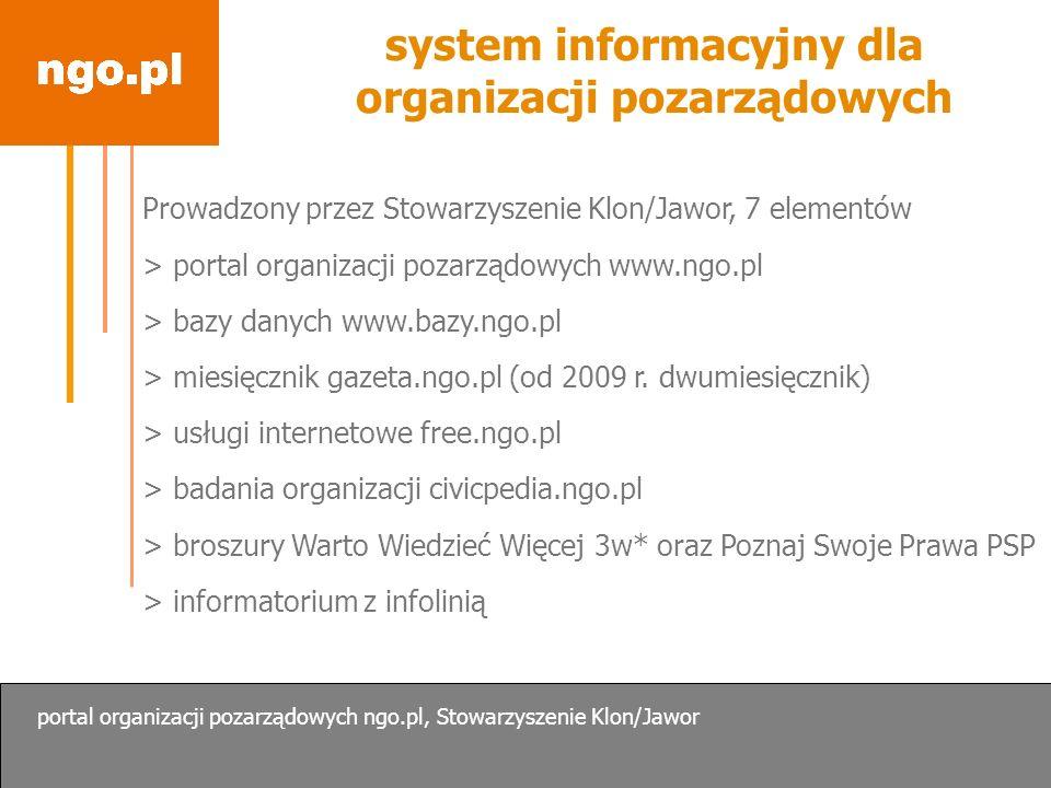 www.ngo.pl Czym jest portal.Co jest w portalu. Jak z niego korzystać.