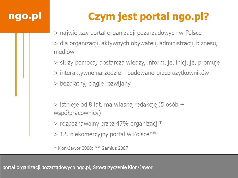 Czym jest portal ngo.pl? > największy portal organizacji pozarządowych w Polsce > dla organizacji, aktywnych obywateli, administracji, biznesu, mediów